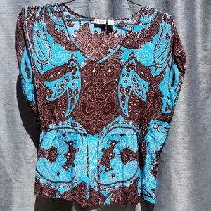 NEW Blue/Brown Short Sleeve Blouse MED